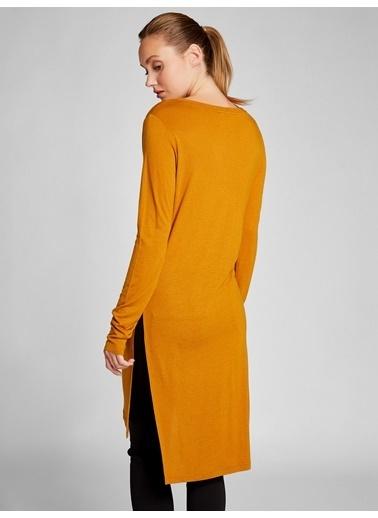 Vekem-Limited Edition Yırtmaçlı Asimetrik Tunik Elbise Sarı